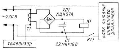 Управление электропитанием активной телеантенны