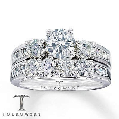Tolkowsky Bridal Set 1 7/8 Carat tw Diamonds 14K White