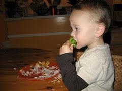 Thomas decides he likes broccoli