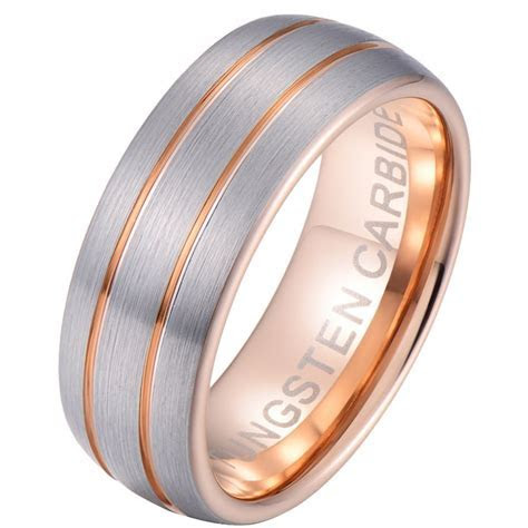 Mens Rose Gold Tungsten Carbide Wedding Band Ring 8mm