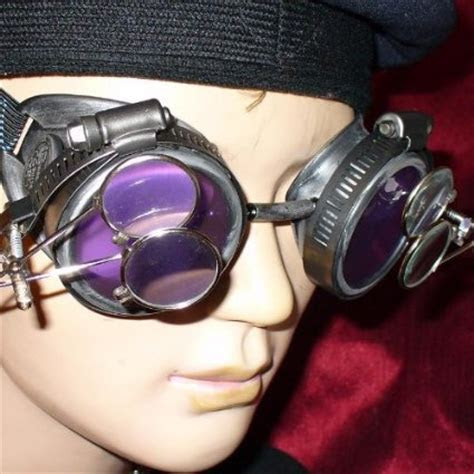 Silver Steampunk Goggles   Magnifying Eye Loupes & Purple