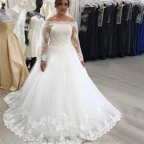 A Line Off the Shoulder Long Sleeves Plus Size Wedding