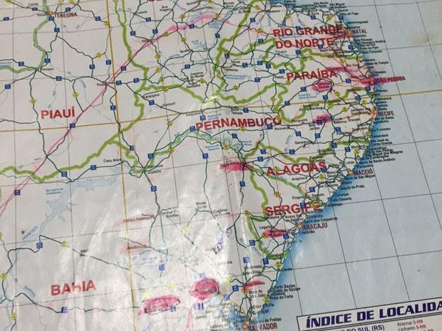 Mapa de possíveis explosões a bancos foi encontrado com quadrilha na Paraíba (Foto: Walber Virgolino/Polícia Civil)