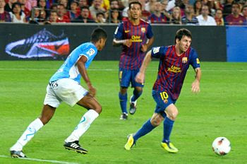 Lionel Messi of Barcelona against Osasuna.