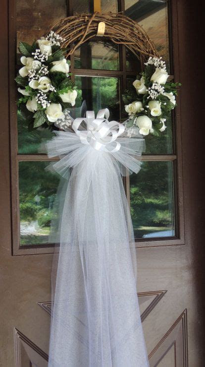 Wedding Wreath, White Rose Wedding Door Wreath, Bridal