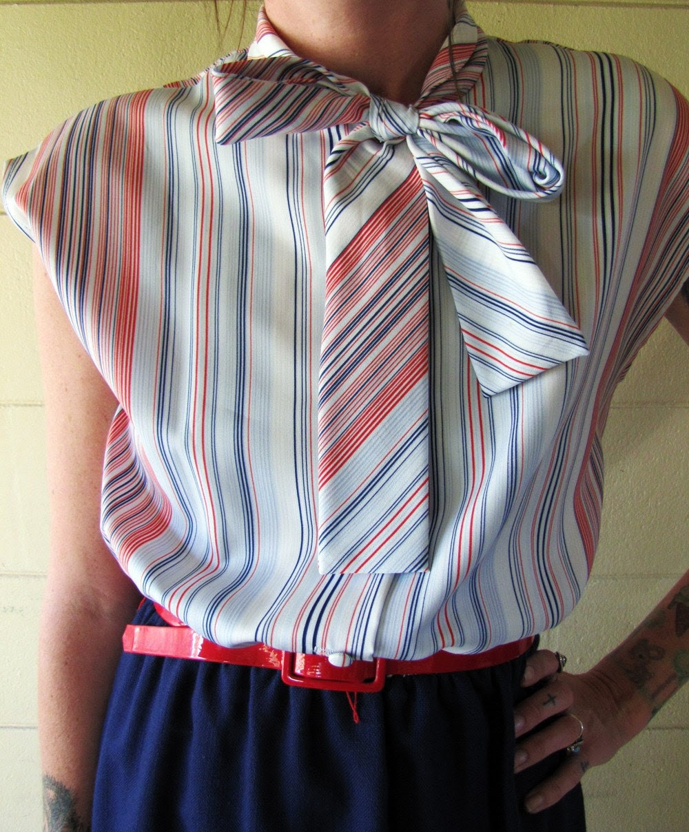 Vintage 70s Striped neck tie Secretary MINI sunday dress Med
