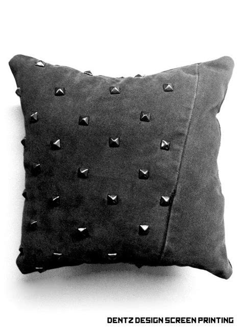 #punk #pillow #studded Black Denim Studded Pillow