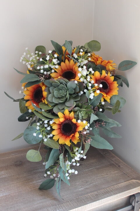 Elopement Bridal Bouquet With Sunflowers And Succulents Silk Wedding Flowers And Bouquets Online Love Is Blooming