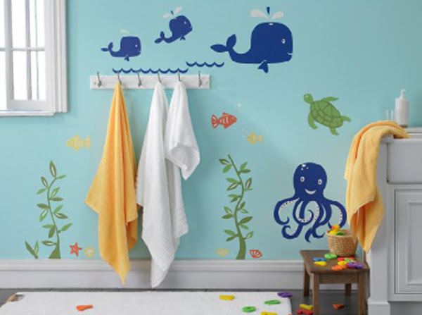 Kids Bathroom With Under Sea Wall Decals Home Design And Interior