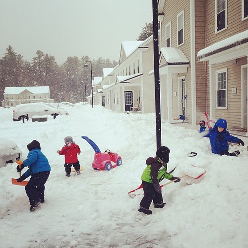 Snowplows hadn't come through yet so we put the kids to work. #childlaborFTW #notatalleffective #butsupercute #tillsomeonegetsashoveltotheface