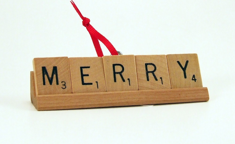 MERRY Scrabble Tile Holiday Ornament