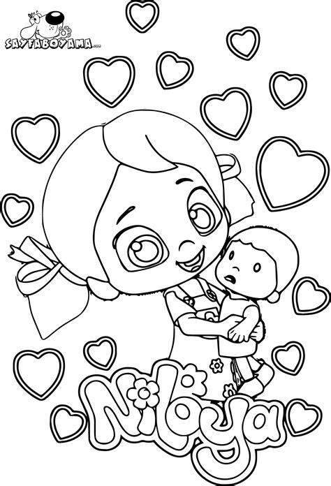 niloya oyuncak mete ile oynuyor boyama sayfasi
