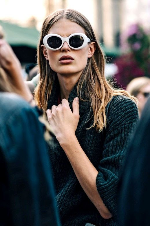 Le Fashion Blog Fall Street Style White Sunglasses Ribbed Sweater Via British Vogue
