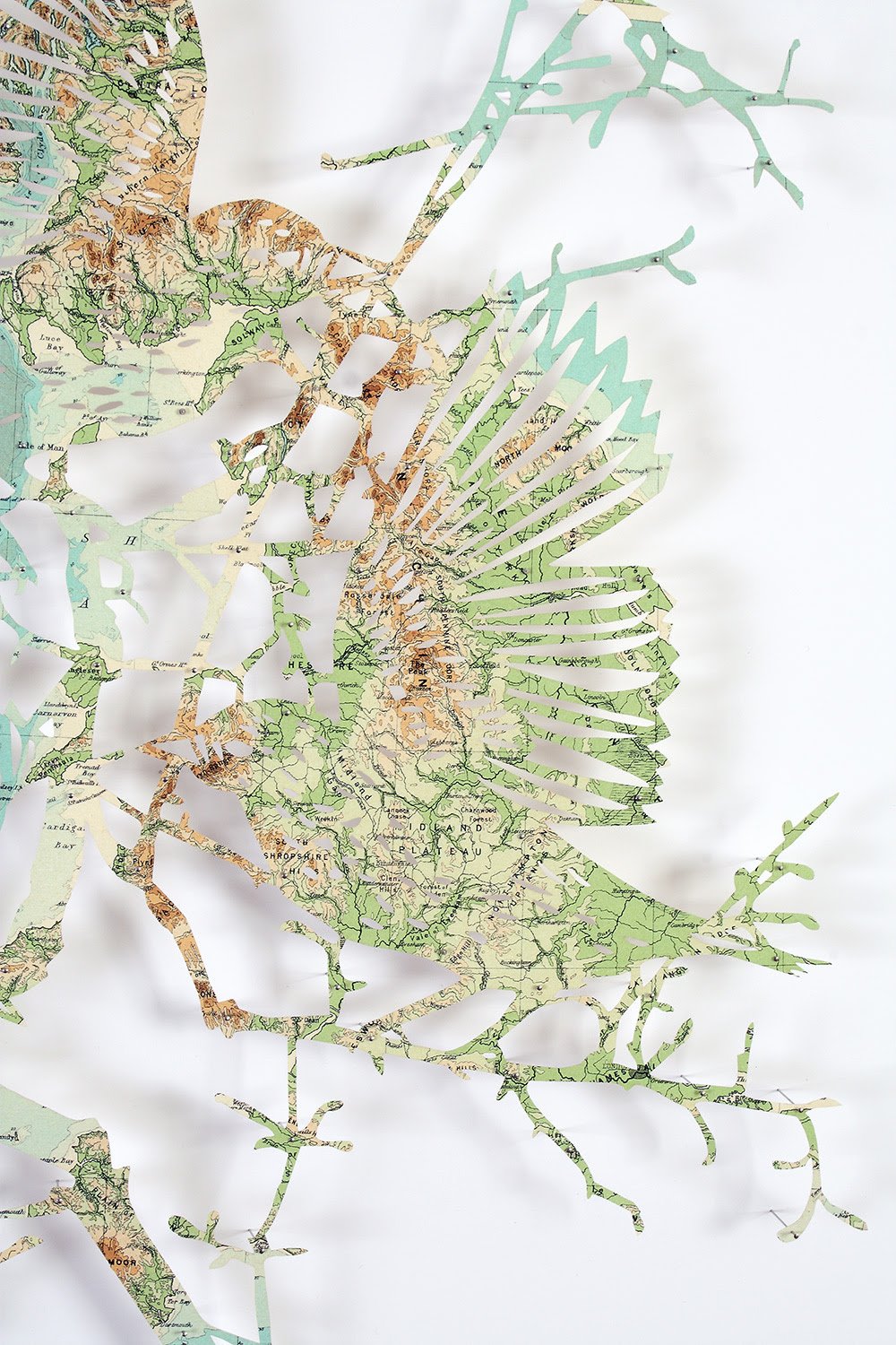 Flocks of Birds Laser Cut from Maps by Claire Brewster sculpture paper birds