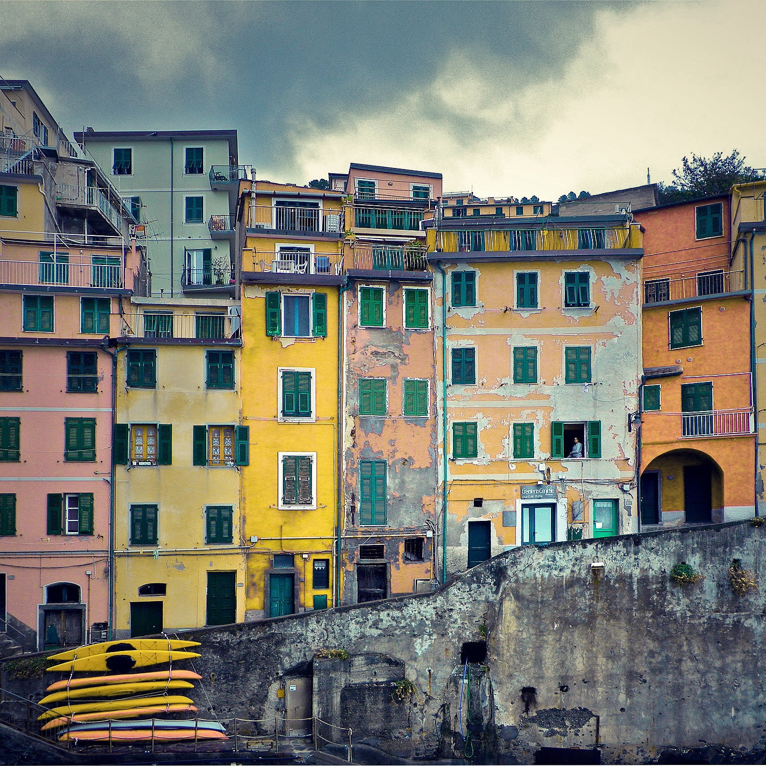 Woman in the Window as Storm Approaches - Riomaggiore, Cinque Terre, Italy - Fine Art Photograph - stevepreston
