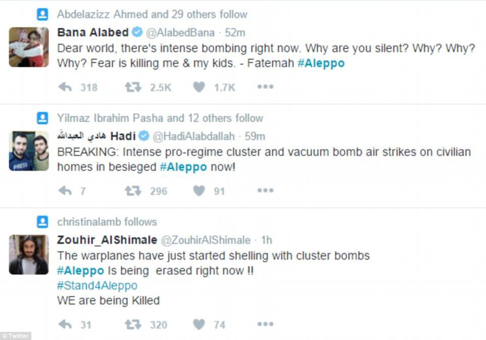 Ativistas relataram ter ouvido as bombas de fragmentação explodem e aviões que voam em cima como eles pediram o mundo exterior para intervir
