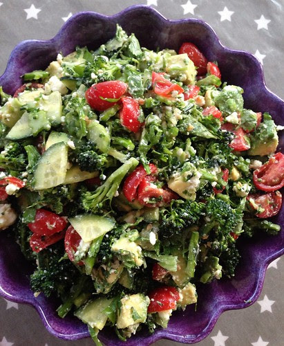 Raw broccoli, feta, avocado