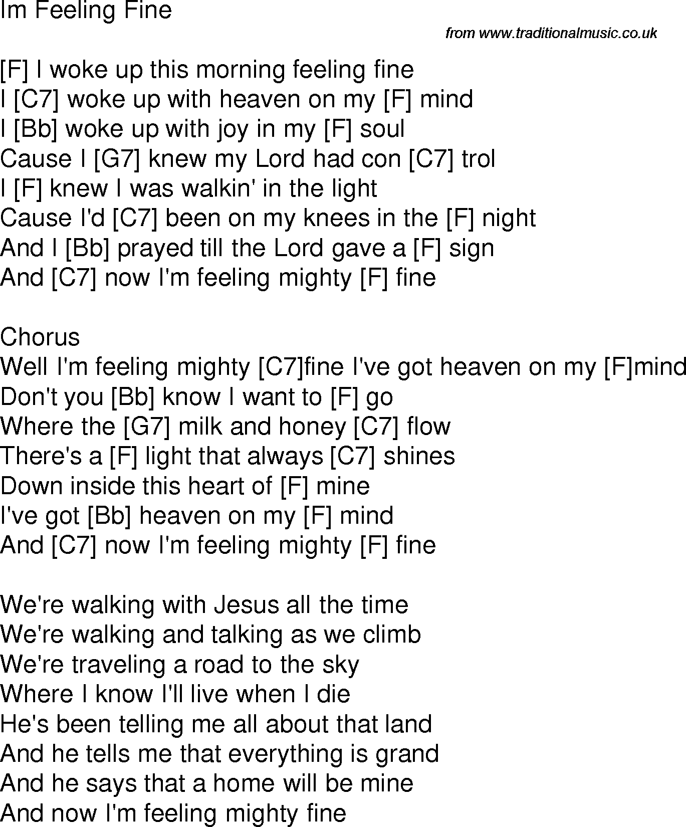 Old Time Song Lyrics With Guitar Chords For Im Feeling Fine F