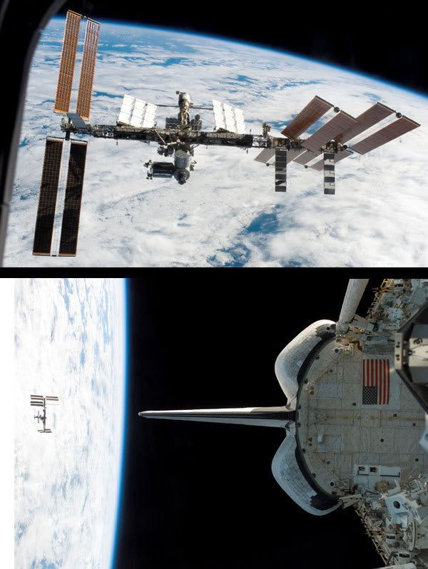 Astronauts onboard the space shuttle Endeavour photograph the International Space Station shortly after undocking on Monday, March 24.
