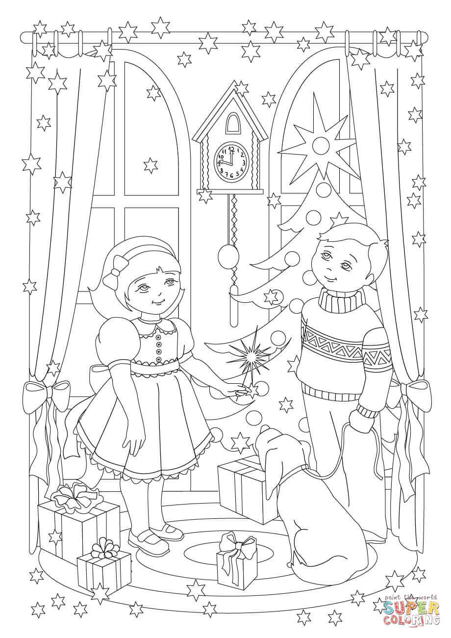 Dibujo De Hermana Y Su Hermano Están Celebrando La Navidad Para