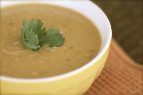 African inspired sweet potato, peanut, and paprika soup