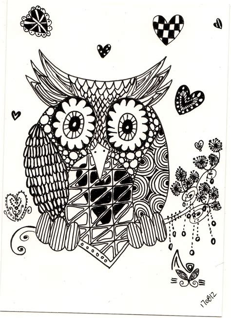 zentagle drawing zentangle owl owls black white