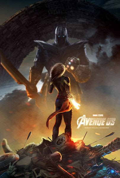 A fan-made poster depicting Captain Marvel confronting Thanos in 2019's AVENGERS 4.