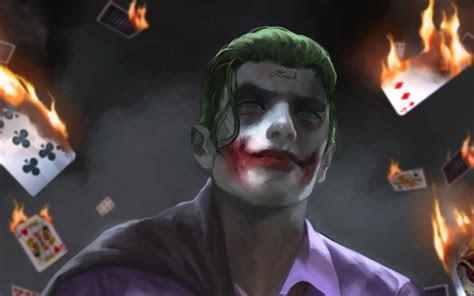 wallpapers joker art supervillain fire dc
