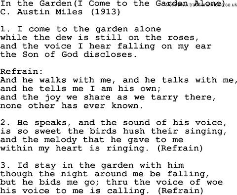Lyrics I Come To The Garden Alone Hymn