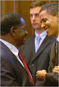 Barak Obama bidding farewell to Emil Jones, President of the Illinois Senate