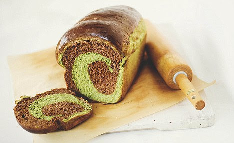 Unusual mix: A chocolate and green tea loaf