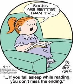 """Family Circus: """"Books are better than TV.  If you fall asleep while reading, you don't miss the ending."""""""