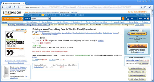 Amazon - recommended book for WordPress bloggers
