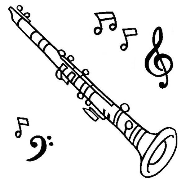 Clarinet is a Musical Instruments Coloring Pages 600x600