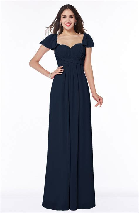 Navy Blue Bridesmaid Dress   Modern Portrait Short Sleeve