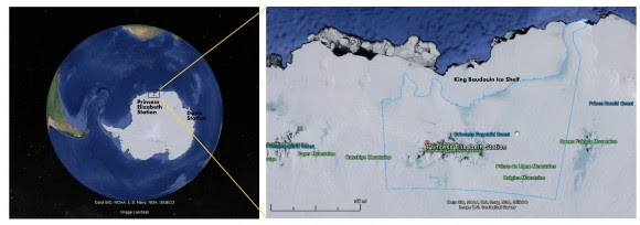 Location of the ring formation on the ice shelf off the Antarctic continent. The site is on the King Baudouin Ice Shelf. (Map Credits: Google Maps, NOAA)