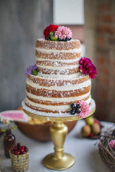 49 Naked Wedding Cake Ideas for Rustic Wedding   Deer