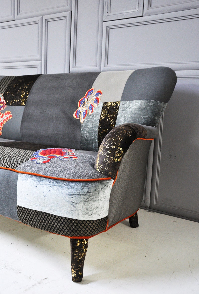 gray & brown patchwork sofa