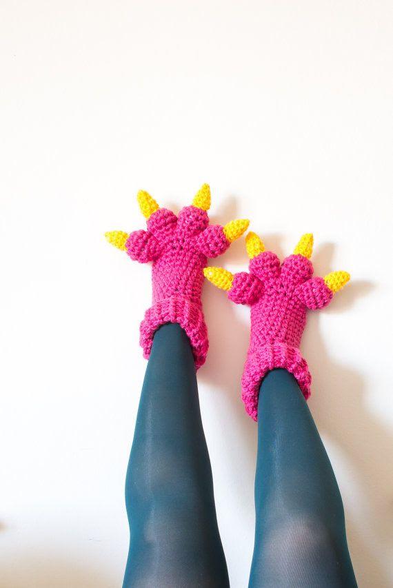 Monster Slippers Crochet Pattern Kids Womens Mens by KnitsForLife