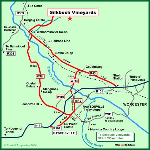 Visit South Africa Maps Silk Bush Mountain Vineyards