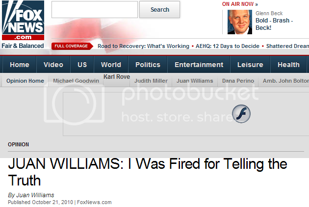 Juan Williams Whining on FoxNews about being fired by NPR ('for telling the truth')