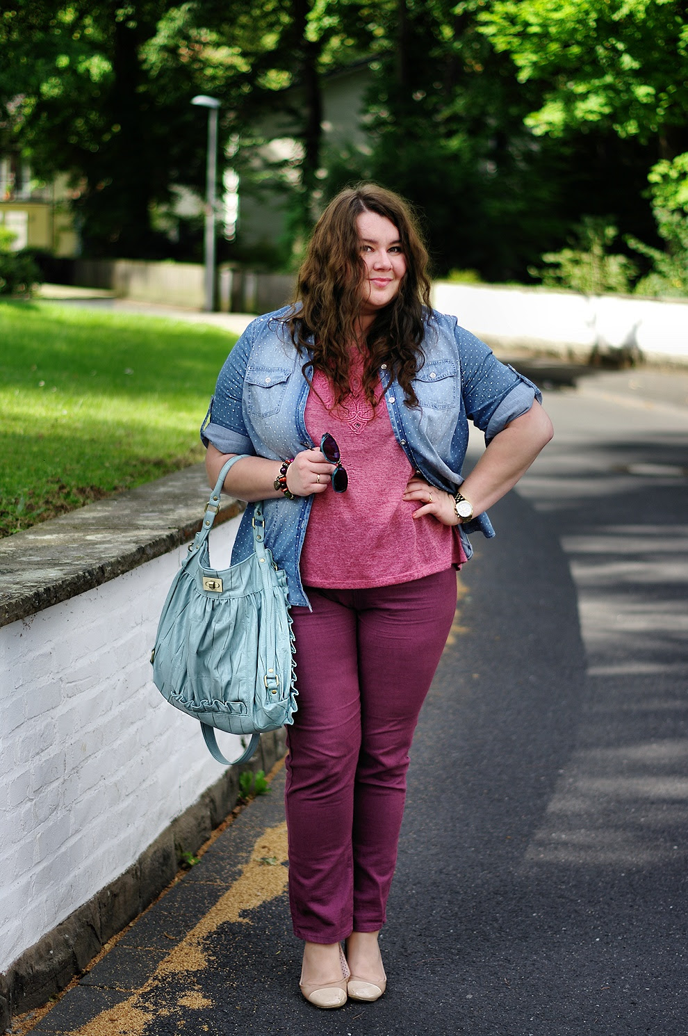 Große Größen Plus Size Fashion Blog Firmoo sunglasses dotted shirt new look inspire c&a deichmann nude ballerinas nkd fiorelli bag