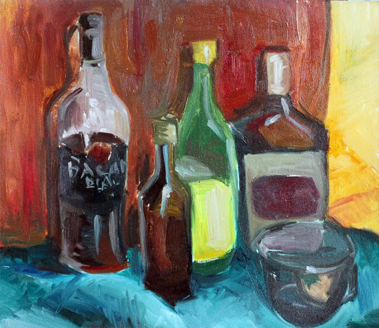 Still life with bottles by Gregory Avoyan