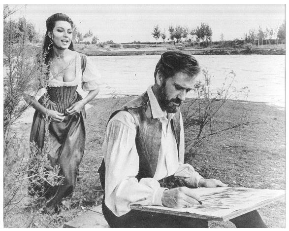 Mel Ferrer y Rosanna Schiaffino a orillas del Tajo en Toledo durante la grabación de la película El Greco en 1964