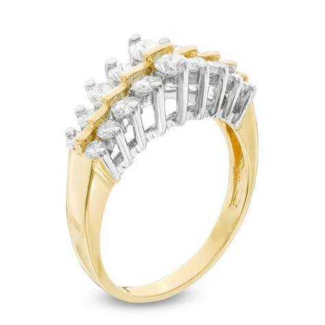 1 CT. T.W. Diamond Two Row Anniversary Ring in 14K Gold