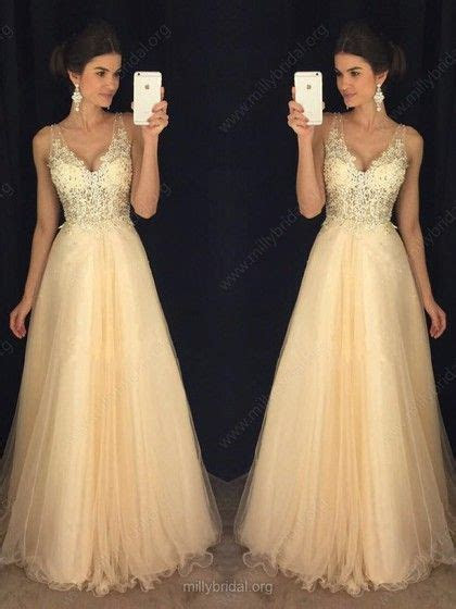 Glamorous A line V neck Tulle Floor length Appliques Lace