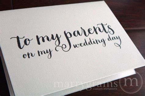 Wedding Card To Your Mother Or Father    Parents Of The