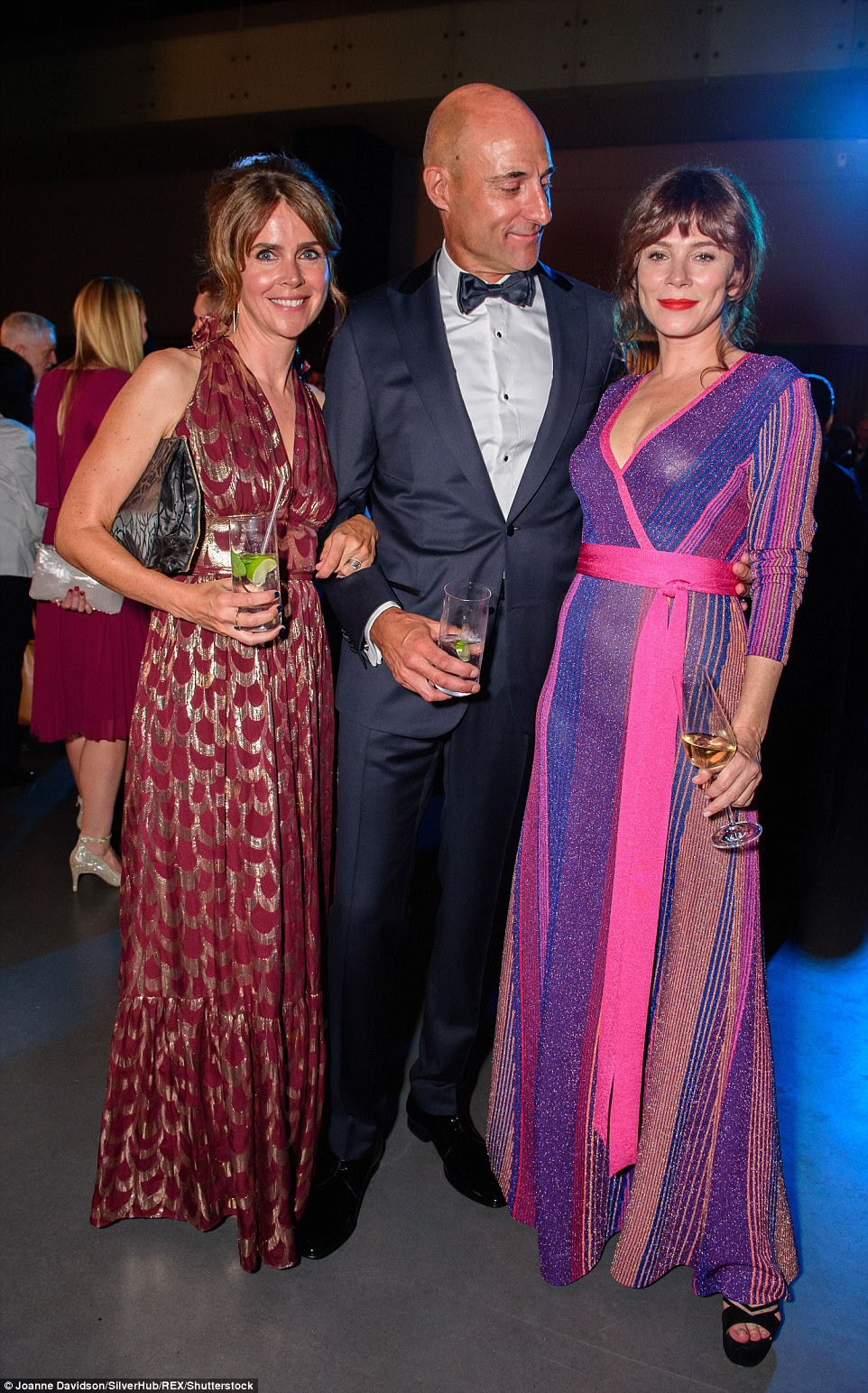 What a trio: Mark Strong with his wife Liza Marshall and Anna Friel at the event