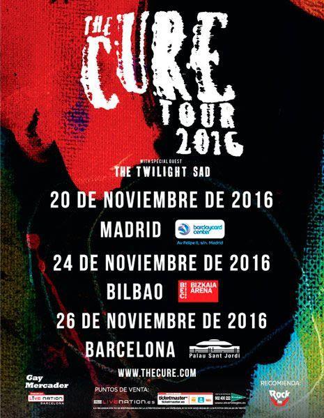 Póster de la gira de The Cure en España (2016), pasando por Madrid, Bilbao y Barcelona en Noviembre