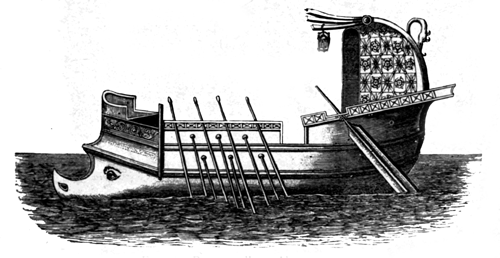 Roman galley. About 110 A.D.